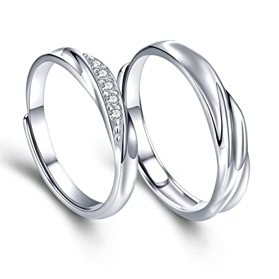 63714aa985 sassu fine Mens Womens Endless Love Silver Rings Adjustable Ring Cubic  Zirconia Wedding Ring Promise Ring Couples Ring|Amazon.com