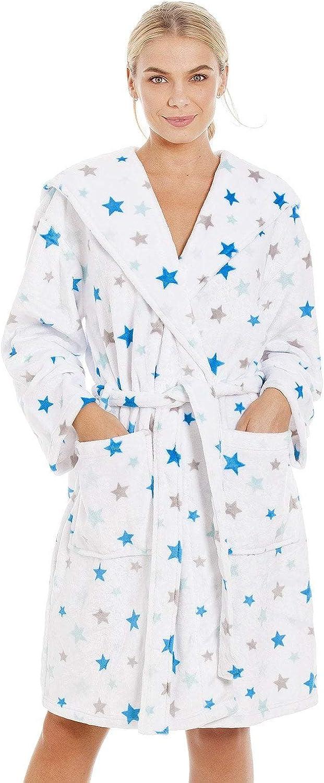Albornoz Supersuave para Mujer Forro Polar Estampado de Estrellas Azules y Grises - Blanco