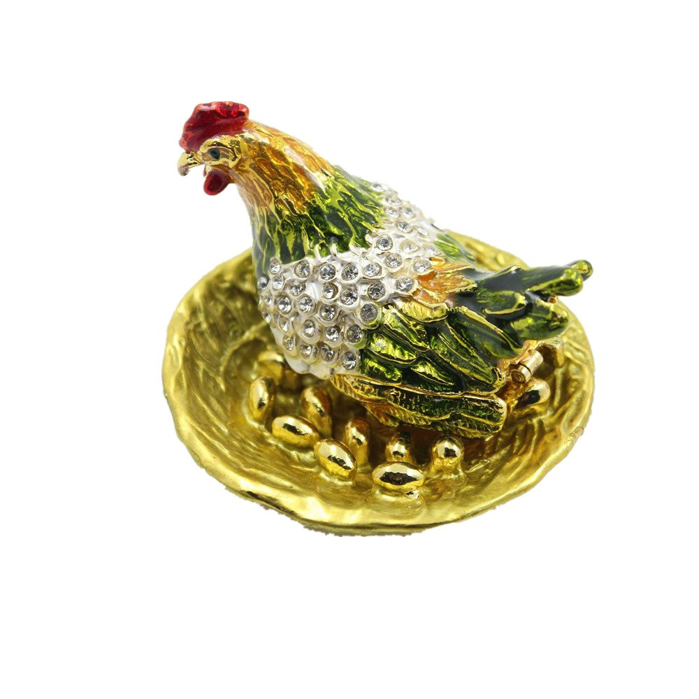 Pewter Enamel Crystal Chicken Trinket Box for Jewelry Ring Holding