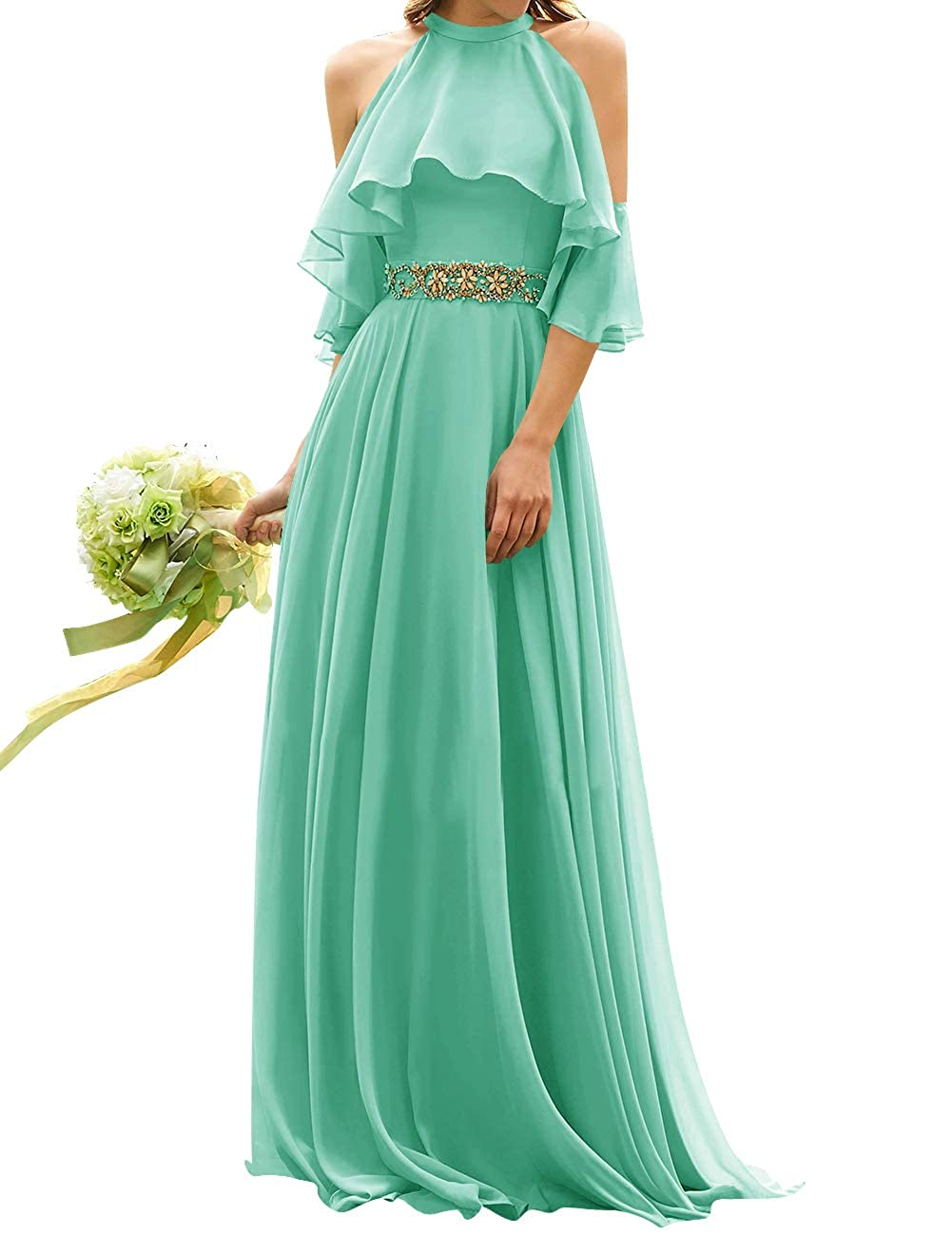 Aqua Uther Long Bridesmaid Dress Cold Shoulder Beaded Ruffle Sleeves Wedding Party Dresses