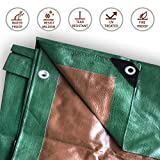 Heavy Duty Multi-Purpose Waterproof Poly Tarp Cover, Reversible, Green and Brown (40' x 60')
