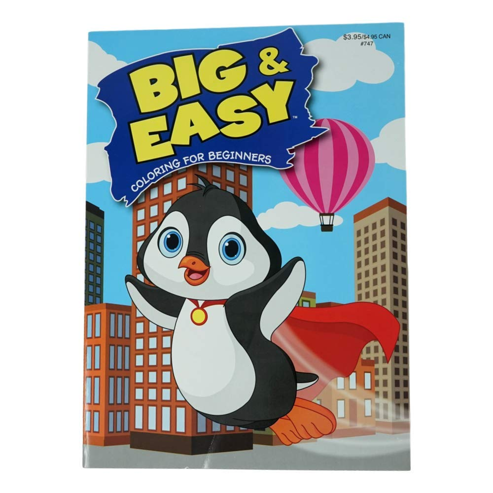 2 Pack Penguin and Spaceship Kappa Book Big and Easy Childrens Coloring Books 96 Pages Each
