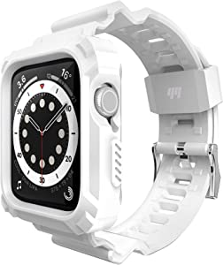 Double-N Compatible for Apple Watch Band 44mm 42mm with Bumper Case, Rugged Protective Shockproof Resistant Case with TPU Sport Strap Bands Fit for iWatch 6/5/4/3/2/1/S-Zero White