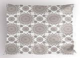 Lunarable Oriental Pillow Sham, Antique Monochrome Ornate Pattern Oval Lace Pattern Classic Damask Themed Retro, Decorative Standard Size Printed Pillowcase, 26 X 20 inches, Tan White