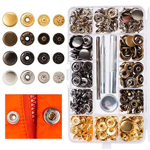 Lynda 80 Sets Metal Snap Button, 4 Colors Snap Fasteners with 4 Pieces Fixing Tools,Used in Leather Craft, DIY Craft, Overalls, Jacket and Jeans,15mm in Diameter