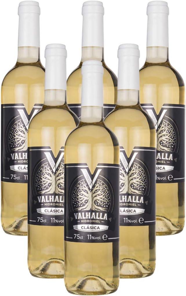 Valhalla Hidromiel Caja de 6 Botellas de Hidromiel Clásica   Bebida Ecológica, Aroma Tropical a Frutas Blancas, Sabor Semi-seco, Botellas de 75 cl