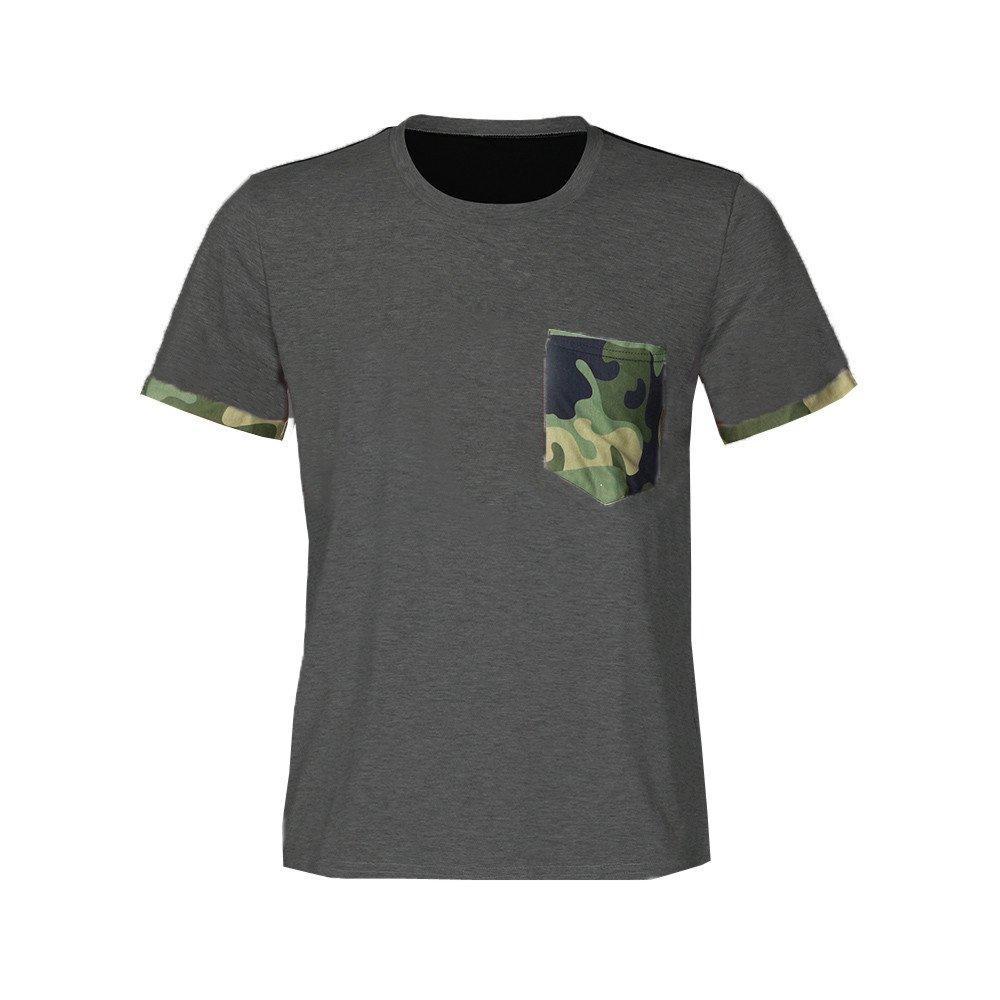 Men Muscle T-Shirt Slim Casual Short Sleeve Camouflage Pocket Blouse Top GY//XL