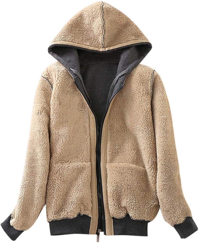 Aofanfs Manteau pour Femmes Casual Hiver Chaud Sherpa Doublé Zip Hooded Manteau Manteaux Coupe-Vent Gris