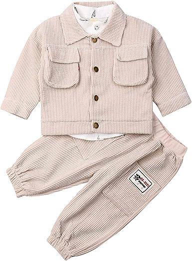 Conjunto de Trajes de bebé niño Camisa de algodón Blanca Chaqueta de Abrigo de Pana de Manga Larga Pantalón Largo 3 Fotos Conjunto de Ropa para niños pequeños: Amazon.es: Ropa y accesorios