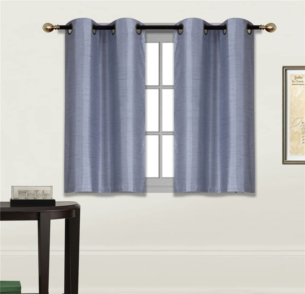 """Elegant Home 2 Panels Tiers Grommets Small Window Treatment Curtain Faux Silk Insulated Blackout Drape Short Panel 28"""" W X 36"""" L Each for Kitchen Bathroom or Any Small Window # D24 (Slate Blue)"""