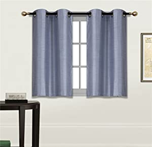 "Elegant Home 2 Panels Tiers Grommets Small Window Treatment Curtain Faux Silk Semi Sheer Drape Short Panel 28"" W X 36"" L Each for Kitchen Bathroom or Any Small Window # N25 (Slate Blue)"