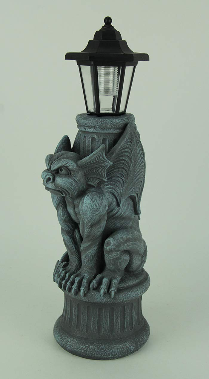 World Of Wonders Resin Outdoor Figurine Lights Gothic Guardian Gargoyle Led Solar Light Garden Statue 7.5 X 20 X 5.75 Inches Blue by World Of Wonders (Image #2)