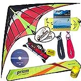 Prism Hypnotist Stunt Kite Mega Tube Tail Strap Bundle (4 Items) + Prism 75ft Tube Tail + Peter Lynn HD Padded Strap Handles Pair + WindBone Kiteboarding Lifestyle Stickers + Key Fob (Fire)