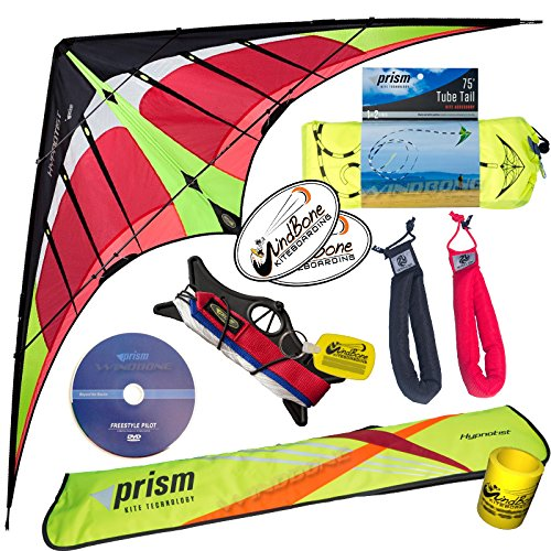 - Prism Hypnotist Stunt Kite Mega Tube Tail Strap Bundle (4 Items) + Prism 75ft Tube Tail + Peter Lynn HD Padded Strap Handles Pair + WindBone Kiteboarding Lifestyle Stickers + Key Fob (Fire)