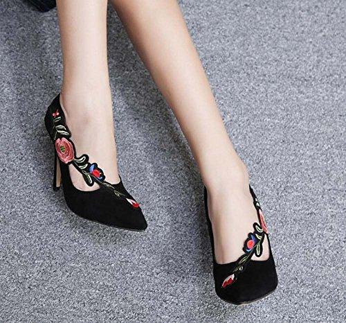 Seude punta alti Donne 10 Charming i 5cm degli stile partito Eu talloni la Donne da Scarpin Pompino di di formato di ricamato vestito cinese ha scarpe partito Black scarpe pattini 40 35 punta ha HIqxadR8w