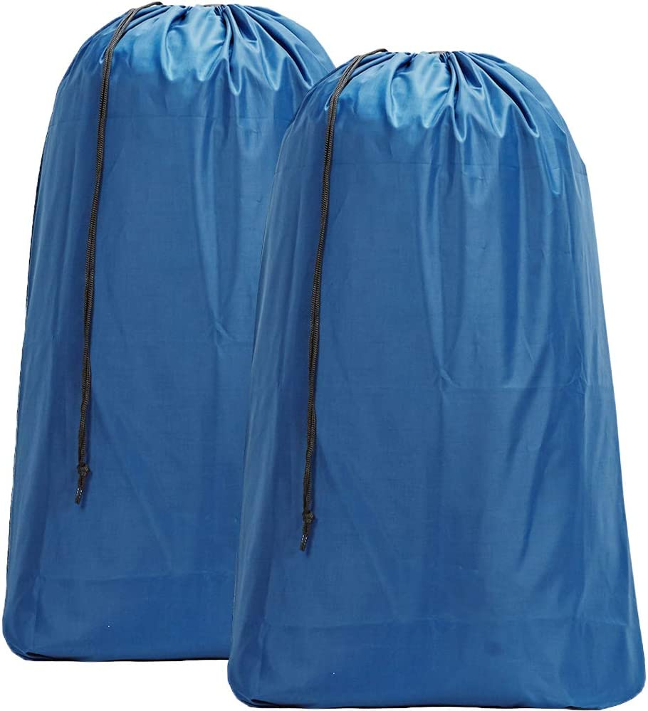 HOMEST 2 Pack Large Nylon Laundry Bag, Machine Washable Large Dirty Clothes Organizer, Easy Fit a Laundry Hamper or Basket, Can Carry Up to 4 Loads of Laundry, Light Blue