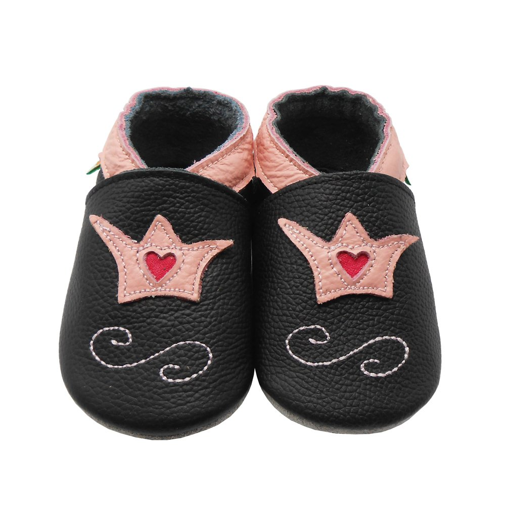 Sayoyo Baby Crown Shoes Soft Leather Sole Infant Toddler Prewalker Shoes