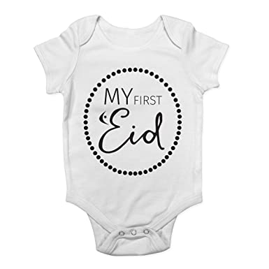 d8321a95c Shopagift My First Eid Muslim Festival Celebration Cute Boys and Girls Baby  Vest Bodysuit White: Amazon.co.uk: Clothing