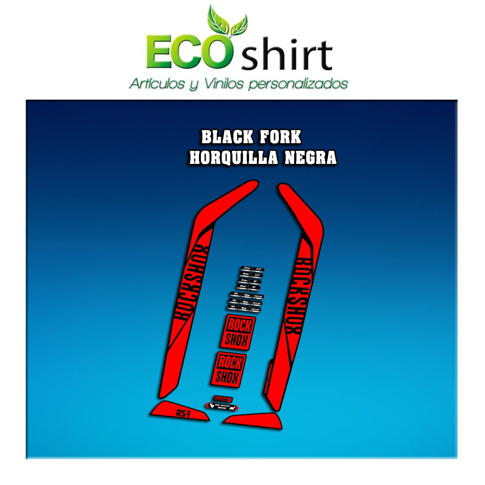 Rojo Ecoshirt TG-Q6ON-6GB4 Pegatinas Stickers Fork Rock Shox Rs1 2017 Am128 Aufkleber Decals Autocollants Adesivi Forcela