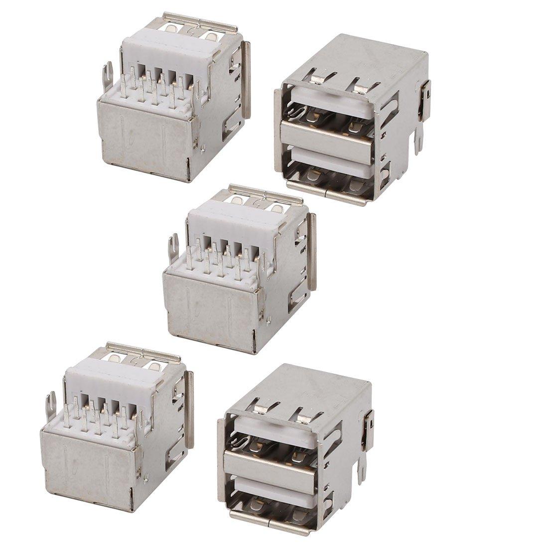 USB Female Type-A 2.0 Jack 8-Terminal 180 Degree PCB Socket Connector 5pcs
