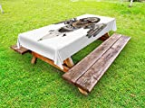 Ambesonne Industrial Outdoor Tablecloth, Stylized Collage with Owl Figure Cog Hardware Gear Machinery Animal Print, Decorative Washable Picnic Table Cloth, 58 X 120 inches, Grey White Brown