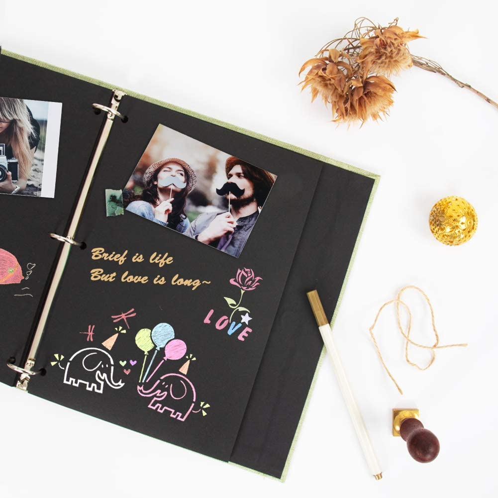 Wedding Guest Book,Album with 80 Black Pages,Great for Anniversary,Valentines Day Gifts,Family Scrapbook DIY Scrapbooking Kit Blue Scrapbook Photo Album Photo Scrapbook