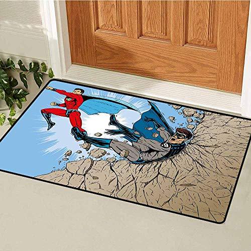 GloriaJohnson Superhero Universal Door mat Old School Comic Book Hero and Villain on The Rocks Punching Kicking Cartoon Door mat Floor Decoration W15.7 x L23.6 Inch Multicolor ()
