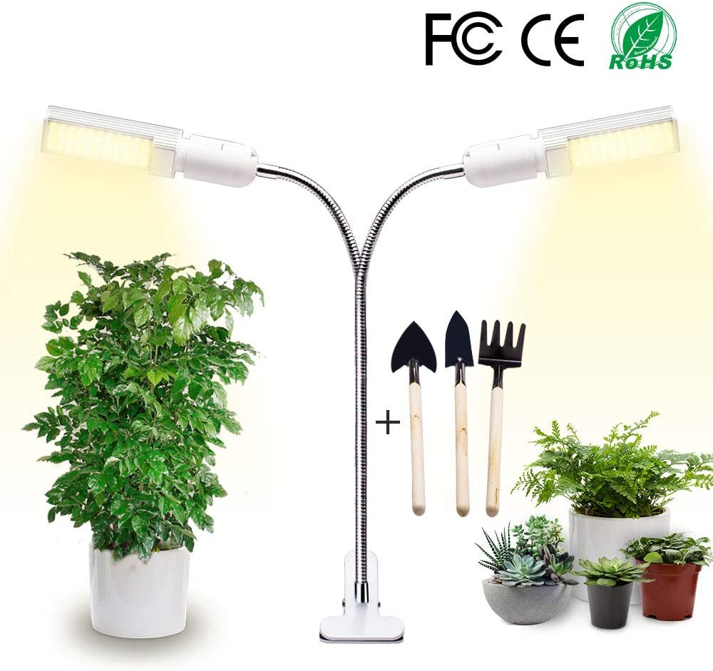 Newest LED Grow Light for All Indoor Plants, 40w USB Timing Function Grow Lamp and 4 Levels Brightness Adjustment, Replaceable Bulb and 360°Adjustable Gooseneck, with Gardening Tool Set