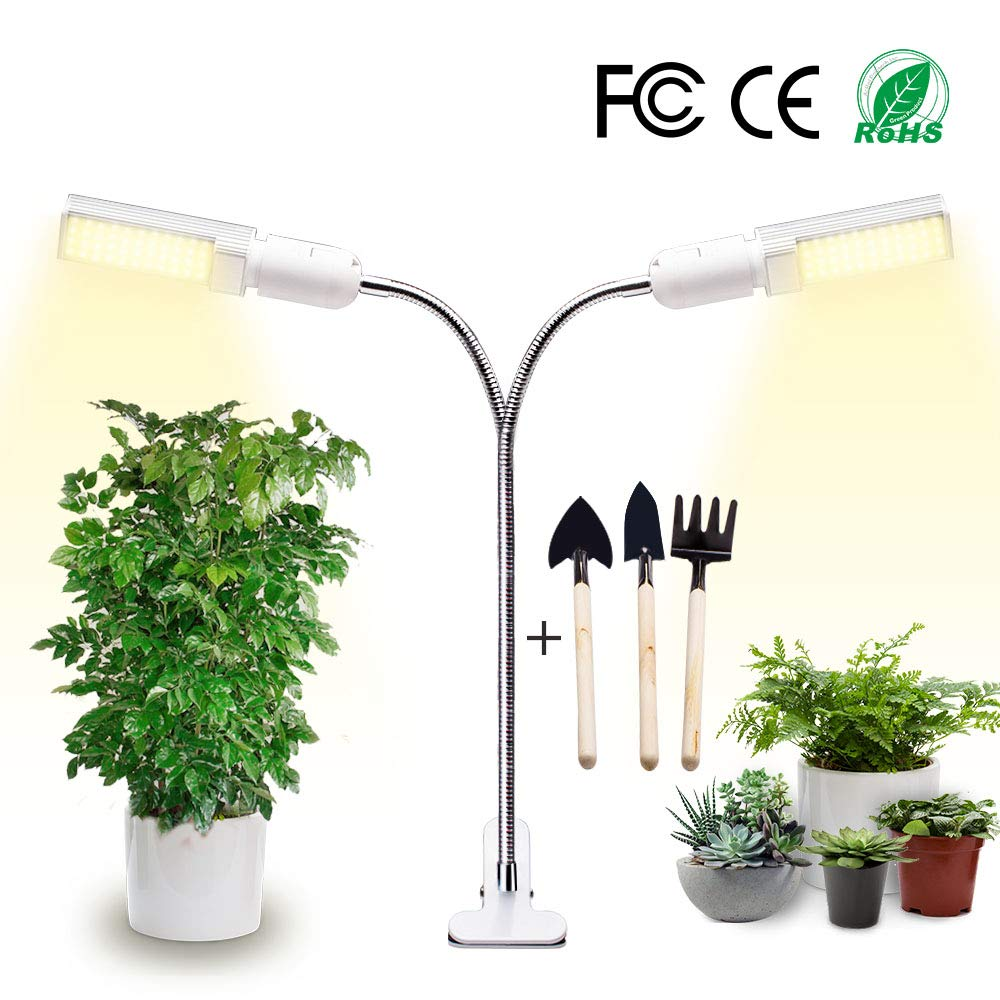 Newest LED Grow Light for All Indoor Plants, 40w USB Timing Function Grow Lamp and 4 Levels Brightness Adjustment, Replaceable Bulb and 360 Adjustable Gooseneck, with Gardening Tool Set