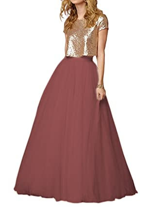 SZMX Party Dress Two Pieces Cap Sleeves Rose Gold Sequin Tulle Long Bridesmaid Prom Gowns for
