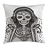 Day Of The Dead Decor Throw Pillow Cushion Cover, Dia de Los Muertos Skull Girl with Headphones Music Lover Print, Decorative Square Accent Pillow Case, 18X18 Inches, Dust and Dimgrey