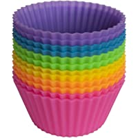 Pantry Elements Silicone Baking Cups - Set of 12 Reusable Cupcake Liners in Six Vibrant Colors