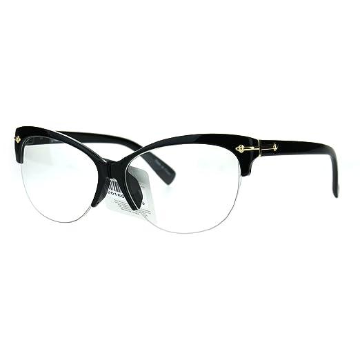 26eeb5e6320b Fashion Half Rim Womens Cat Eye Clear Lens Horned Glasses Black Gold