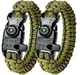 A2S Paracord Bracelet K2-Peak – Survival Gear Kit with Embedded Compass, Fire Starter, Emergency Knife & Whistle – Pack of 2 – Quick Release Slim Buckle Design (Green / Green 9″)