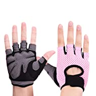 DCRYWRX Ventilated Gym Gloves with Full Palm Pad and Strong Grip for Lifting, Weight Lifting Gloves for Gym Workout Half Finger Fitness Gloves Thin Sports,Pink