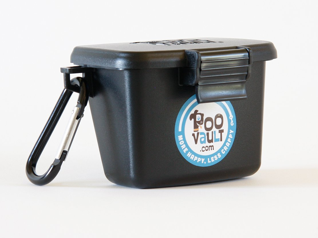 Poo Vault Portable Dog Poop Bag Holder, Odor Free Dog Poop Trash Can, Made in USA