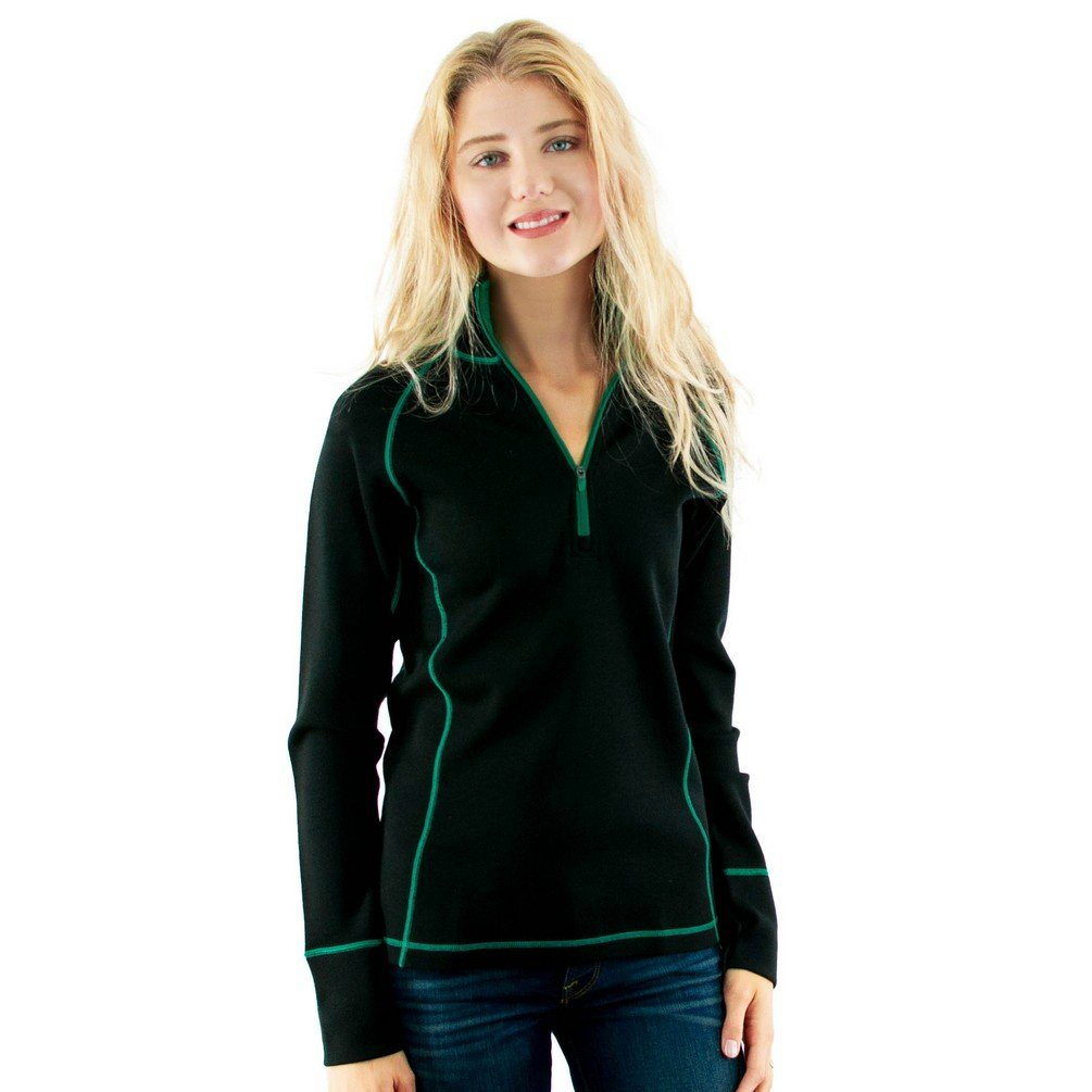 Woolx X754 Women's 1/4 Zip Merino Wool Top - Black Emerald Pop - SML by WoolX