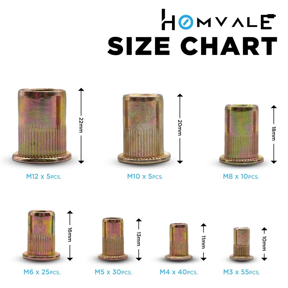 Metric Rivet Nuts 170 pcs, Zinc Plated Carbon Steel Rivnuts,Treaded Insert Nutsert M3 M4 M5 M6 M8 M10 M12 by Homvale (Image #1)