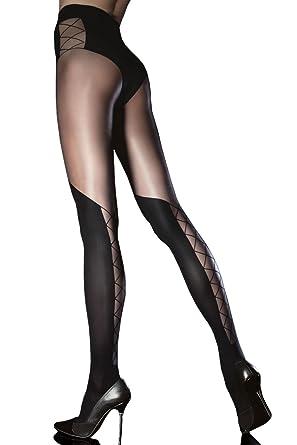 promotion prix attractif dernière remise Fiore Collant fantaisie femme semi opaque effet cuissarde laçage arrière 40  den