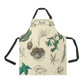 QUICKMUGS2U - Delantal para Pintar Hierbas (2 Bolsillos, Correa Ajustable, para cocinar, Barbacoa, Hornear, Chef, Hombres, Mujeres): Amazon.es: Jardín