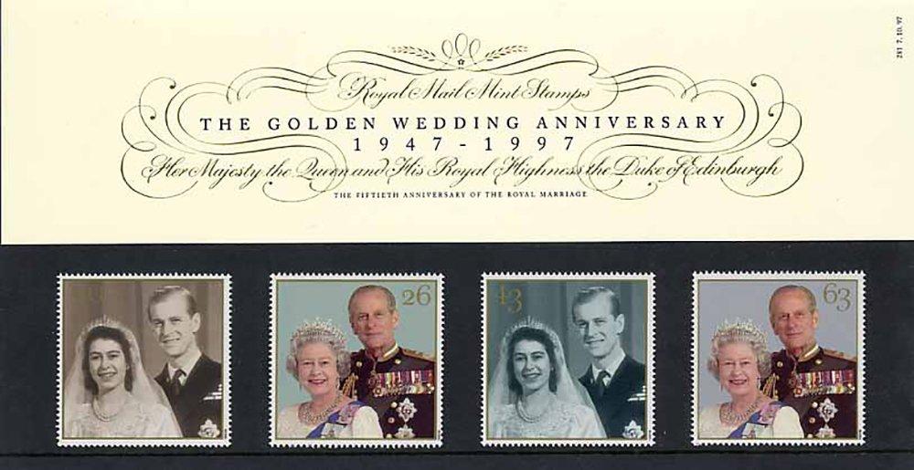1997 Die Goldene Hochzeit, Geschenkbox Nr. 281-Royal Mail Briefmarken