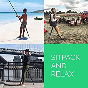 Sitpack 2.0 – The World's Most Compact Foldable Seat – Portable and Adjustable Sit/Stand Stool for Travel and Outdoor Activities