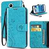 Software : Galaxy S4 Case, Premiun Wallet Leather Credit Card Holder Butterfly Flower Pattern Flip Folio Stand Case for Samsung Galaxy S4 With a Wrist Strap (Blue)