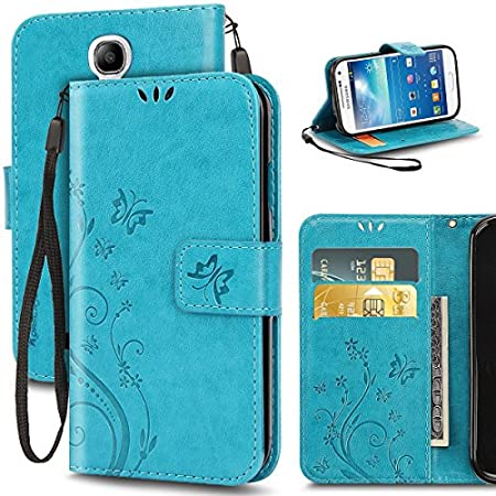 Galaxy S4 Case, Premiun Wallet Leather Credit Card Holder Butterfly Flower Pattern Flip Folio Stand Case for Samsung Galaxy S4 With a Wrist Strap (Blue)
