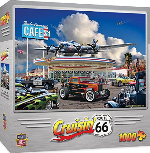 MasterPieces Cruisin' Route 66 Jigsaw Puzzle, Bomber Command Café, Featuring Art by Larry Grossman, 1000 Pieces