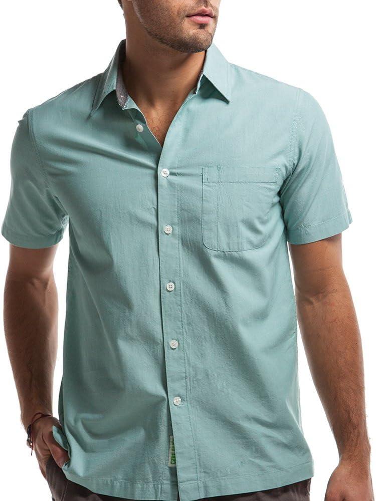 Cariloha Crazy - Camisa de Manga Corta con Botones para Hombre (Viscosa de bambú) - - X-Large: Amazon.es: Ropa y accesorios