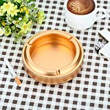 Ashtray Aluminum Alloy Fashion Personality European Ashtray Ashtray Office Home Furnishing Large Living Room Decoration,Golden