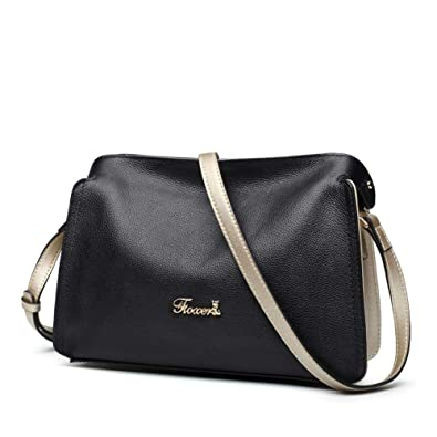 decb7032ae FOXER Women Genuine Leather Crossbody Bag Small Purse Casual Leather  Shoulder Bag (Black)  Handbags  Amazon.com