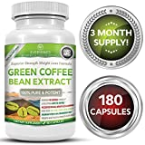 Super Premium 100% Organic Green Coffee Bean Extract Weight Loss Formula - 50% Chlorogenic Acid - Superior Strength - 180 Capsules