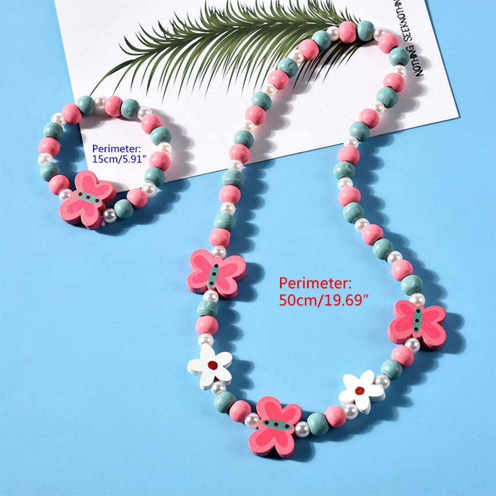 Cadeaux pour Petites Filles Lot de 2 suoryisrty Ensemble Collier et Bracelet pour Enfants avec Fleurs Amour Coeur perl/é Perles Ensemble de Bijoux